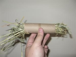 I prefer to cut a narrow strip of toilet roll and stuff the hay in