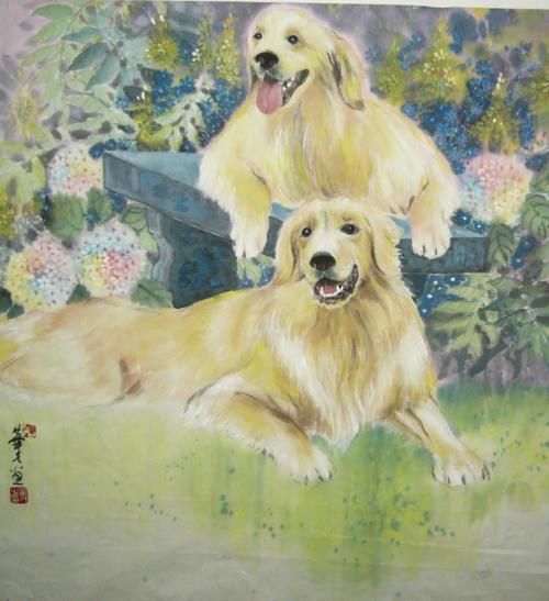 A Pair Of Golden Retrievers